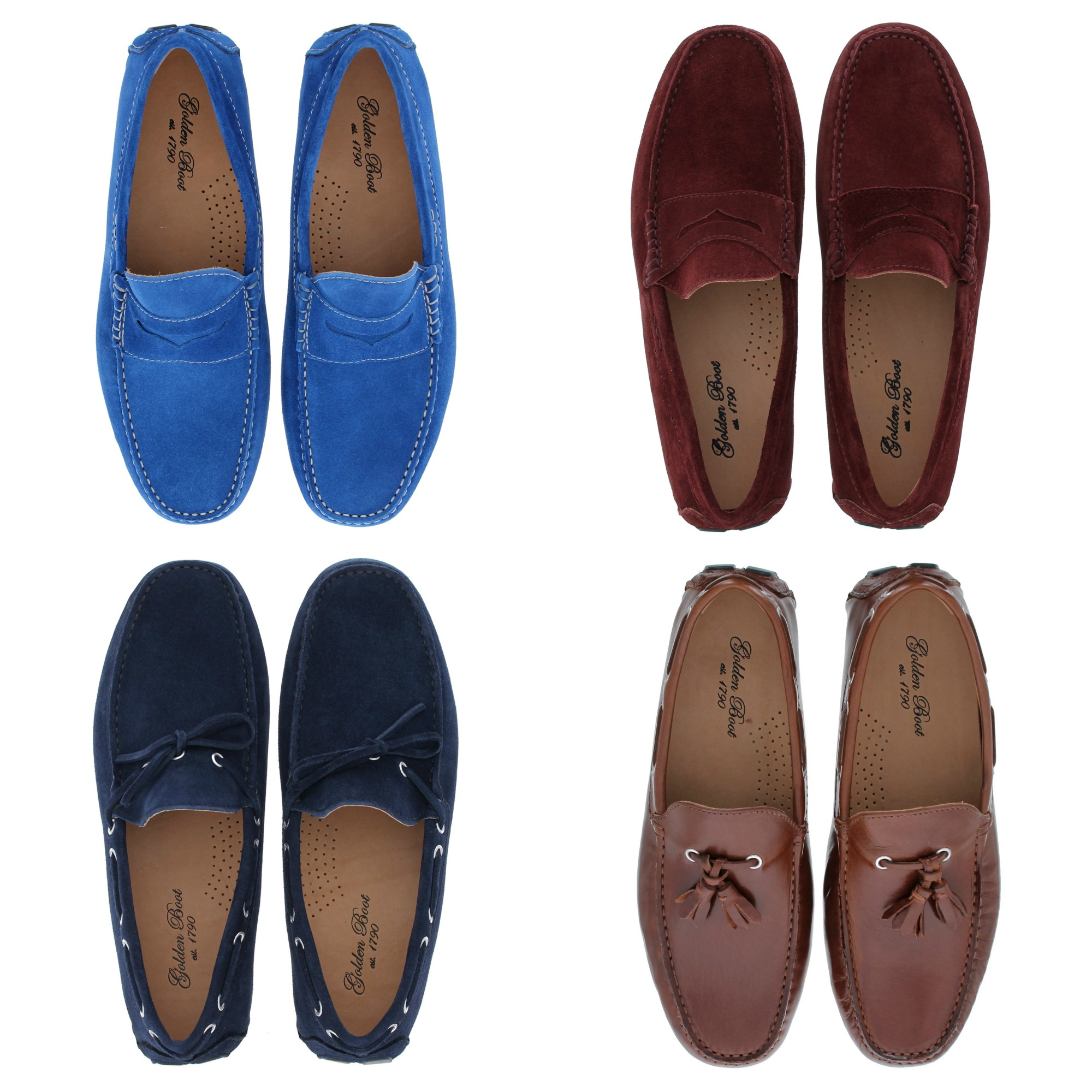 Rich burgeundy and navy - alongside a summery shade of cobalt and classic tan leather