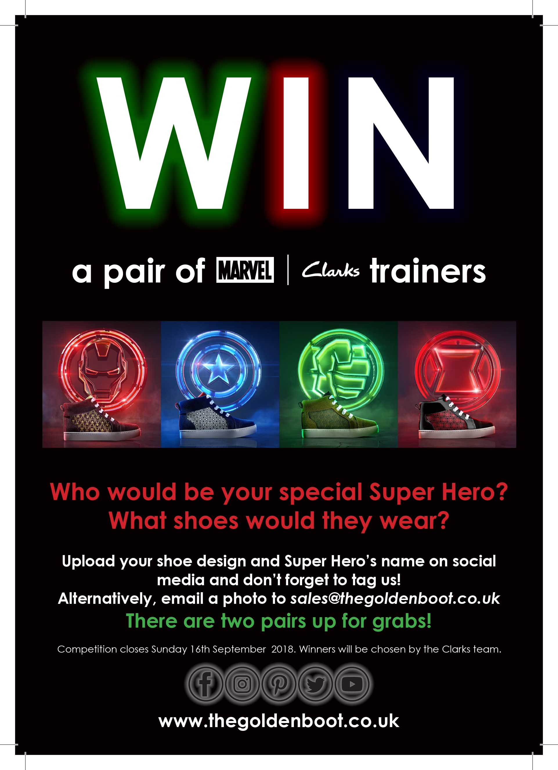 Enter our Facebook competition to win a pair of Marvel X Clarks Trainers