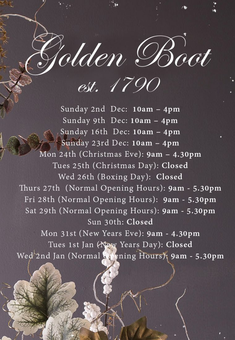 Golden Boot Christmas Opening Times